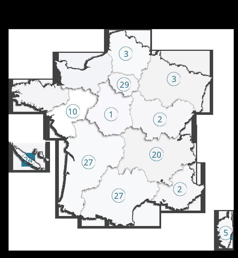 Carte des PME et TPE labellisées EnVol 2018 - EnVol-entreprise